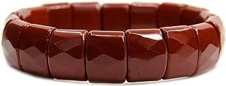 Amandastone Genuine Semi Precious 15mm Square Grain Faceted Beaded Stretchable Bracelet 7.5 Inch
