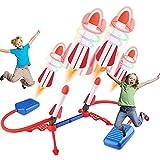 FORMIZON Juguete Lanzador de Cohetes, Lanzacohetes Juguete para Niños con 6 Resplandor Cohetes 1 Bomba de Pie, Juegos al Aire Libre para Niños y Adultos Launch Rocket, Cohete Aire (Doble)