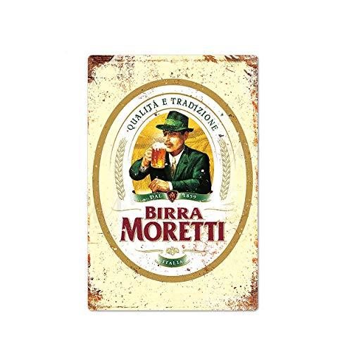 Letrero de lata con diseño de cerveza Birra Moretti Italia, decoración de...
