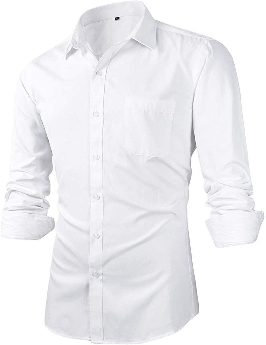 Beninos Mens Slim Fit Solid Point Collar Button Down Dress Shirt