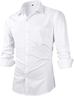 Beninos Men's Slim Fit Solid Point Collar Button Down Dress Shirts