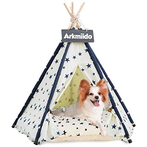 Arkmiido Pet Teepee Dog & Cat Bed with Cushion- Luxery Dog Tents & Pet Houses with Cushion & Blackboard (Beige)