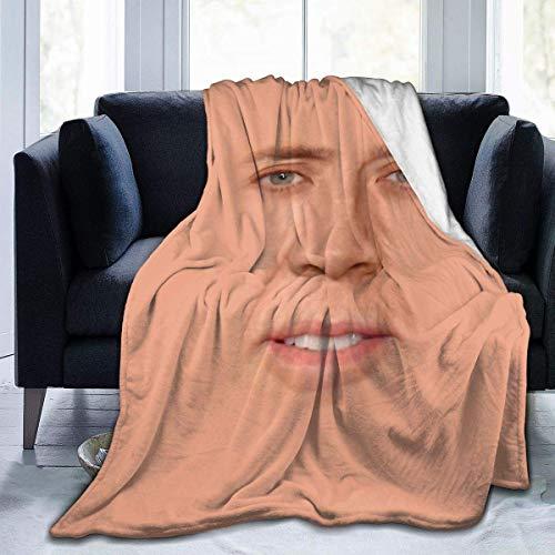 Edredones Nicolas Cage Manta de Tiro de Franela Mantas de Cama Suaves y acogedoras Ligeras para sofá Silla Adecuada para Todas Las Estaciones 80 '' X60