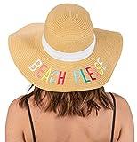 H-2017-BPM Embroidered Sun Hat - Beach Please (Multi)