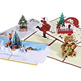 Housolution Tarjetas de Navidad 3D, 5 PZS Cartas Navideñas de Felicitación Emergentes con Sobres, Patrónes de Árbol de Navidad Papá Noel Osito para Agradecimiento Fiesta Cumpleaños, Multicolor
