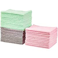 36-Pack Amazon Basics 12 x 16 Microfiber Cleaning Cloths (Green/Gray/Pink)
