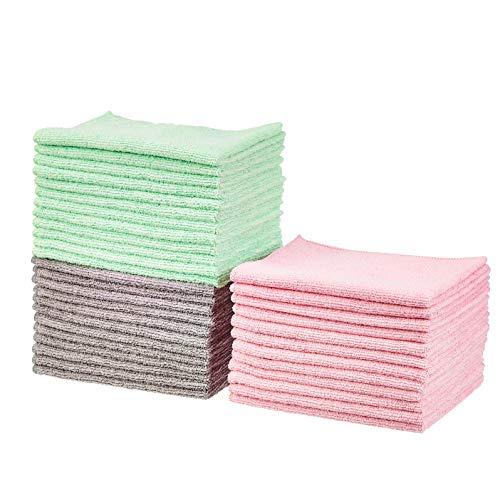 Amazon Basics - Panni in microfibra verde, grigio e rosa, confezione da 36
