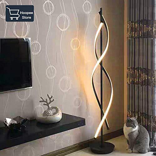 ELINKUME Lampade da Terra Nero LED Dimmerabile Luce Bianca Calda Lampada da interno Lampada da Soggiorno 30W Interruttore Dimmerabile Design Unico Creativo Moderno AC 200-230V