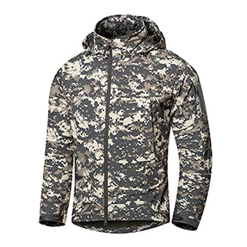 Outdoor Tactique Mince Soft Shell Veste Homme Printemps imperméable à Capuche Randonnée Manteau Automne Coupe-Vent Militaire ACU Camouflage L