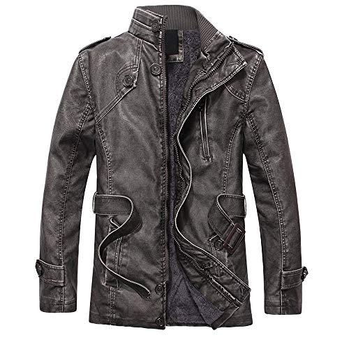 YKARITIANNA Men's 2018 New Coat,Fashion Autumn Winter Novelty Faux Leather Standing Collar Long Slim Washed Jackets Coat