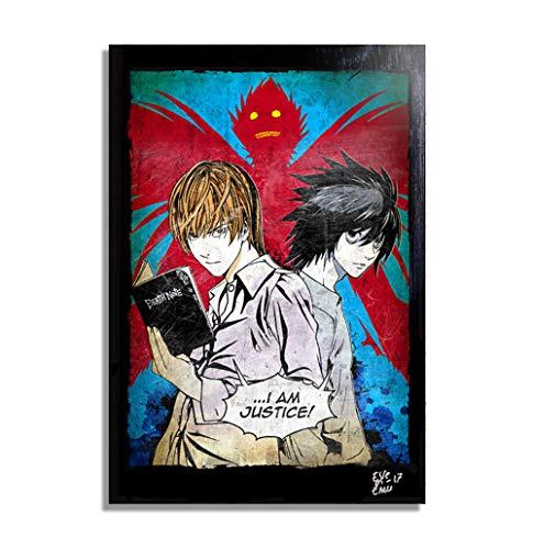 Yagami Light y L de Death Note (T. Oba y T. Obata) - Pintura Enmarcado Original, Imagen Pop-Art, Impresión Póster, Impresion en Lienzo, Cuadro, Cómics, Cartel de la Película, Anime, Manga