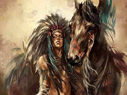 Wdsjxd Pintura al óleo por números, para adultos y niños, lienzo con diseño indio y caballo (40 x 50 cm), sin marco