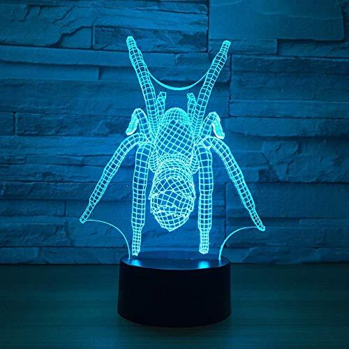3D-Nachtlicht mit Spinnenmotiv, bunt, USB, niedlich, 7 Farbwechsel, 3D-Leuchten für Kinderzimmer