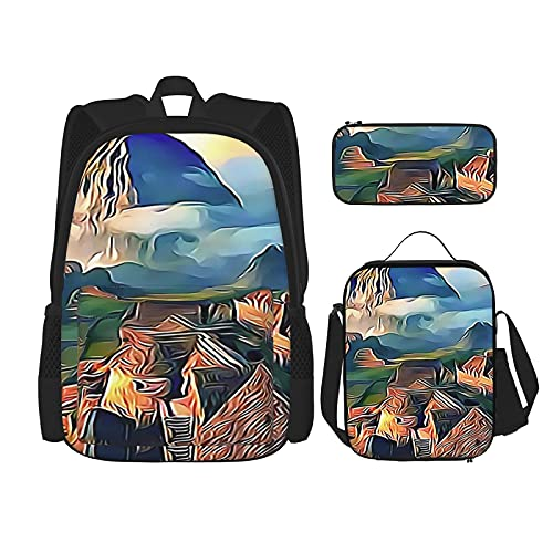 Machu Picchu - Mochila escolar de 3 piezas, bolsa escolar + estuche para lápices + bolsa de almuerzo con impresión 3D, lona de viaje y camping juvenil