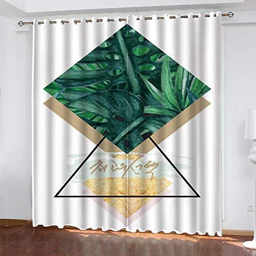 QINMENG Gardiner ogenomskinliga set 280 cm x 250 cm gardiner mörkläggningsgardin med opak elegant gardin med öglans nordeuropa, blad för hem sovrum dekoration