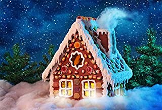 Baocicco Homemade Gingerbread Snowing Night Dreamy Backdrop 8x6ft Photography Background Pine Forest Frosted Snow Field Dessert Room Chimney with Smoke Christmas Decoration