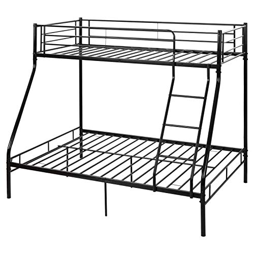 TITA-DONG Metal Bunk Bed, Triple Metal Bed Frame 3ft Single 4ft6 Double, 3 Sleeper for Adults/Children,Bunk Bed for Childrenroom, Bedroom(Black)