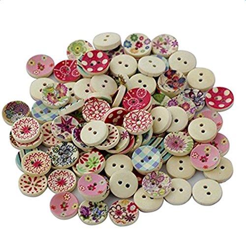 Kanggest 100pcs Botones de Madera Manualidades Colores Flor Redondos dos Agujeros Costura de madera DIY Scrapbooking Bricolaje Artesanía(Color aleatorio)