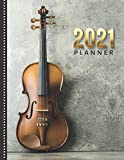 2021 Planner: Violin Photo / Daily Weekly Monthly / Dated 8.5x11 Life Organizer Notebook / 12 Month Calendar - January to December / Full Size Book ... Cover/ Cute Christmas or New Years Gift