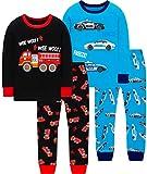 Boys Christmas Pajamas Children Fire Truck Printed Jammies Kids Cotton Sleepwear Girls Police Car Gift Set Size 7