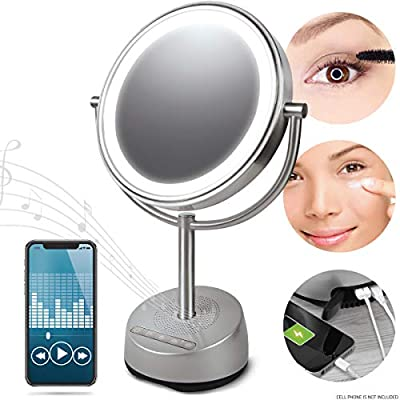 Sharper Image Bluetooth Vanity Makeup Mirror with Wireless Music Streaming, LED Light and Phone Charging Port