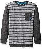 U.S. Polo Assn. Boys' Big Long Sleeve Striped Crew Neck T-Shirt, Color Block with Pocket Black, 10/12