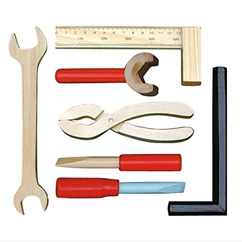 roba Werkbank, grosse Spielwerkbank aus Holz, Meister-Werkbank mit umfangreichem Werkzeug Set, grosser Arbeitsplatte, Ablage u, 3 Schubfächern - 4