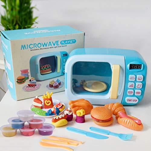 Creacom Küchenmikrowellen-Spielset, Küchenmikrowellen-Spielset Kids Electronic Pretend Play Oven Spielzeug-Mikrowellen-Set mit Play Food Blue