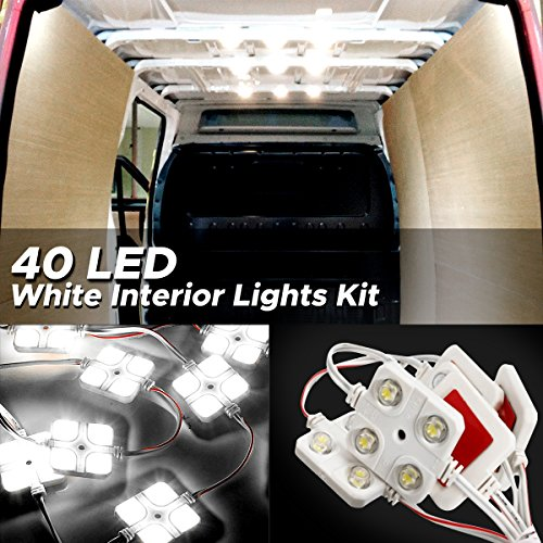 Audew LED Auto Innenbeleuchtung Innenraumbeleutung Lampe 10x4 Interior Licht Auto Leseleuchte LED Panel Kits Weiß 12V 48mm*48mm