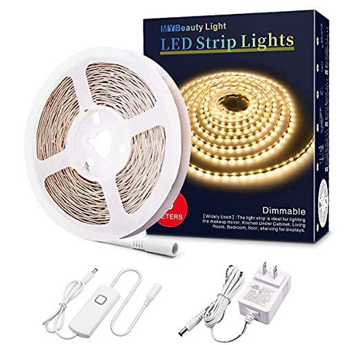 LED Strip Lights Warm White, 16.4ft Dimmable LED Light Strip with Memory Function, 300 Bright 3000K 2835 LEDs, Self-Adhesive 12v Flexible LED Rope Lights for Kitchen Cabinet Bedroom Home Party Decor