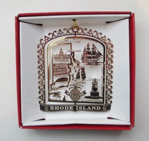 Rhode Island Brass Christmas ORNAMENT Souvenir Gift