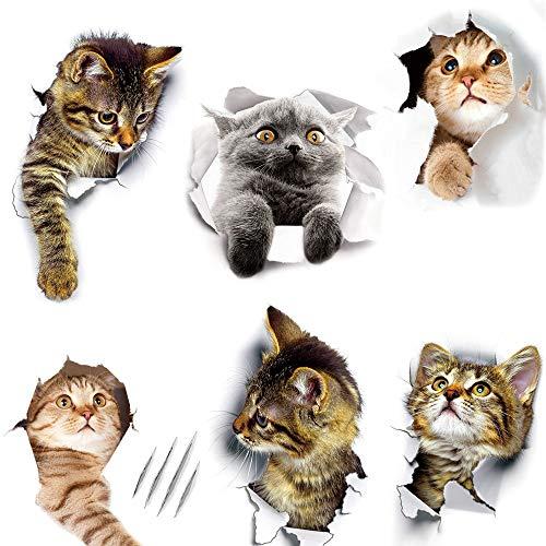 Decoración de Pegatinas de Gato, Vinilos de Gatos 3D, Lindas Pegatinas de Gatos 3D, Impermeable, para Ventanas, Baños, Paredes, Fundas de Inodoros, Refrigerador, Habitaciones para Niños (10 Pu