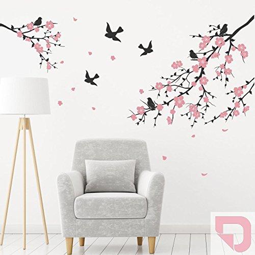DESIGNSCAPE® Wandtattoo Ast mit Blüten und Vögel 120 x 85 cm (Breite x Höhe) Farbe 1: pastell-rosa DW804163-S-F98