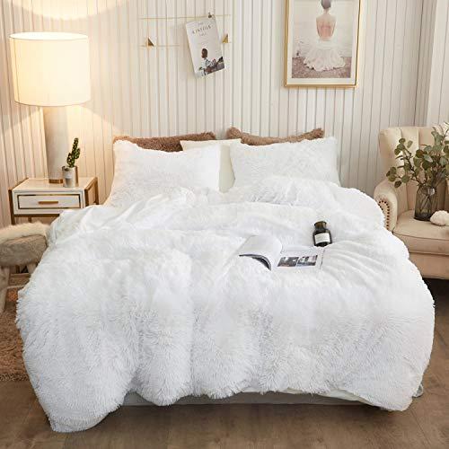 XeGe Plush Shaggy Duvet Cover Set Luxury Ultra Soft Crystal Velvet Bedding Sets 3 Pieces(1 Faux Fur Duvet Cover + 2 Faux Fur Pillowcases),Zipper Closure(Queen,White)