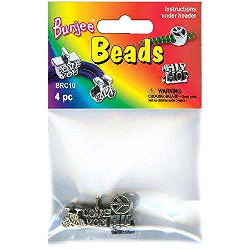 Bunjee Cord Bracelet Beads 4/Pkg-
