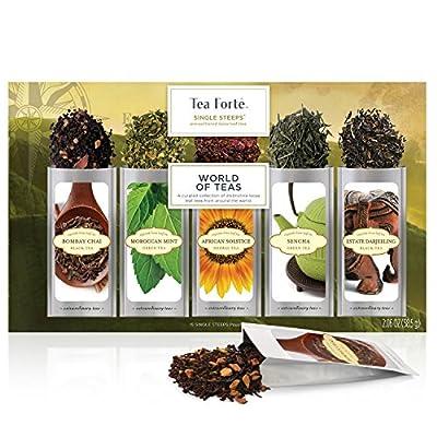 BOÎTE D'ÉCHANTILLONS World of Teas de sachets d'infusions à usage unique, boîte d'assortiment de thés, 15 sachets individuels - Thé vert, tisane, thé noir, thé chai