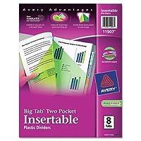 WorkSaver Bigタブマルチカラープラスチックディバイダーwith Doubleスラッシュポケット[ Set of 2]タブスタイル: 8
