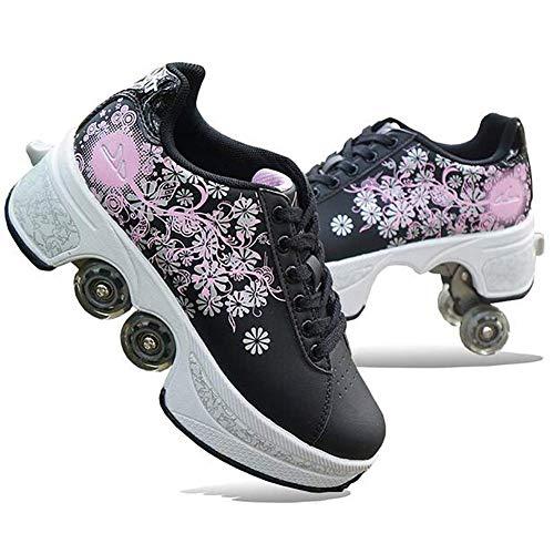 Hmyloz Vrouwen Vervorming Roller Schoenen Walk Sneakers met 3D Patroon Drukken met Dubbele Rij Vervormen Wiel Skateboards
