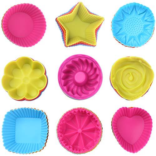Liesun Stampi Muffin, Set di 36 Stampo Silicone Muffin, Pirottini da Forno riutilizzabili in Silicone, Silicone per Cupcake, teglia Muffin, teglia Muffin Silicone, stampini Muffin Silicone, 9 Forme
