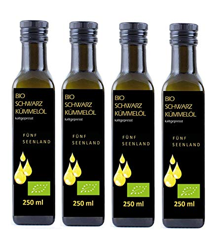 4 x 250 ml Flaschen BIO Schwarzkümmelöl 5-SeenLAND BLACKLABEL, DE Öko 006, kaltgepresst,...