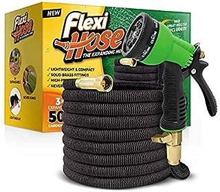 Flexi Hose & 8 Function Nozzle, 50 FT Lightweight Expandable Garden Hose | No-Kink..