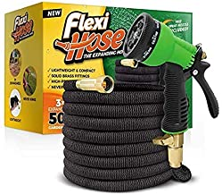Flexi Hose & 8 Function Nozzle, 50 FT Lightweight Expandable Garden Hose | No-Kink..