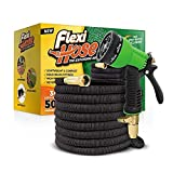 1. Flexi Hose & 8 Function Nozzle, 50 FT Lightweight Expandable Garden Hose | No-Kink Flexibility - Extra Strength with 3/4 Inch Solid Brass Fittings & Double Latex Core | Rot, Crack, Leak Resistant