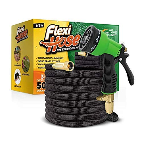 Best flexible garden hose - Flexi Hose & 8 Function Nozzle, 50 FT Lightweight Expandable Garden Hose | No-Kink Flexibility - Extra Strength with 3/4 Inch Solid Brass Fittings & Double Latex Core | Rot, Crack, Leak Resistant