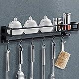 SaiXuan Mensola da Cucina,Mensola Organizer,Mensola Organizer con 6 Ganci Rimovibili,Mensola multifunzionale sospesa per bagno o cucina(Nero)