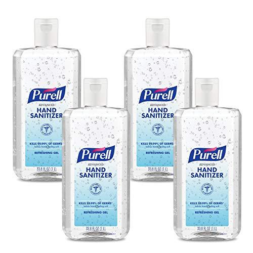 PURELL Advanced Hand Sanitizer Refreshing Gel, 1-Liter Flip-Cap Bottle (Pack of 4) - 9683-04