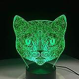 Sorpresa antes de Navidad cara de gato lámpara de mesa 3D visual LED luz nocturna Impresionante arte cabeza de gato ilusión habitación iluminación regalo