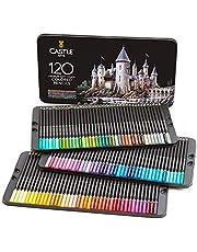 Castle Art Supplies 120 kolorowych kredek dla dorosłych artystów Professional   Wyposażony w miękki rdzeń serii do profesjonalnego mieszania warstw, rysowania cieniowania   Idealny do szkicowania kolorowanek