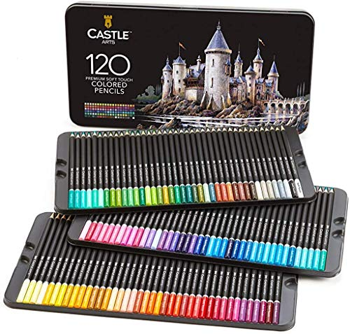 Castle Art Supplies 120 Colored Pencils Set for Adults Kids and All Artists | Featuring 'soft series' core for expert layering, blending and shading | Perfect for coloring books and classroom