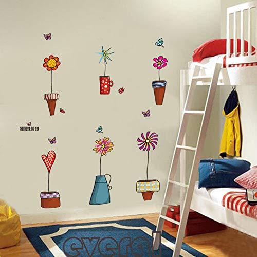 MMLFY MLFY Muursticker, kleurrijke vlinderbloempotten, muursticker, kindertekening, voor kinderkamer, doe-het-zelf, verwijderbaar, waterdichte kinderslaapkamer-raamdecoratie